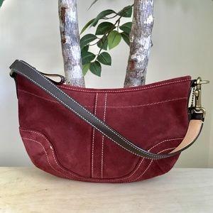 🆕 Coach Maroon Suede Leather Baguette Mini Bag